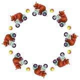 La struttura rotonda dell'acquerello con il circo riguarda il motociclo e le palle colorate royalty illustrazione gratis