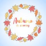 La struttura rotonda delle foglie, autunno è iscrizione venente Fotografie Stock Libere da Diritti
