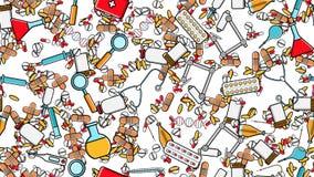La struttura senza cuciture del modello degli elementi che della medicina le icone punge le pillole pipetta medico degli strument illustrazione di stock