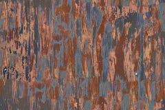La struttura senza cuciture della parete del garage del metallo ha arrugginito Fotografie Stock