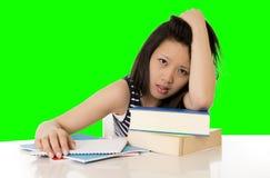 La studentessa abbastanza asiatica ha sovraccaricato sul suo computer portatile sul BAC bianco Immagine Stock Libera da Diritti