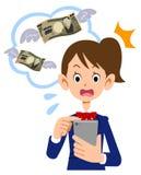 La studentessa che è sorpresa alla tassa per uso del telefono cellulare illustrazione di stock