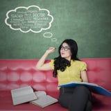 La studentessa immagina il suo lavoro da sogno Fotografia Stock Libera da Diritti