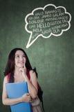 La studentessa impara le lingue straniere Immagine Stock Libera da Diritti