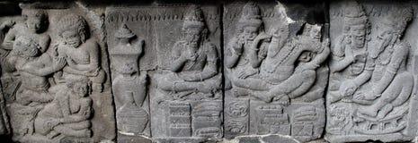La stufa di sollievo di Ramayana scolpisce o nandisvara sul tempio di Prambana Fotografia Stock Libera da Diritti