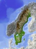 La Suède, carte d'allégement Photographie stock libre de droits