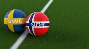 La Suède contre l'Allemagne Match de football de la Norvège - ballons de football dans des couleurs nationales de la Suède et de  Illustration Stock