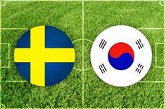 La Suède contre le match de football de la Corée du Sud Image stock