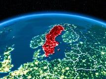 La Suède de l'espace la nuit Photo stock