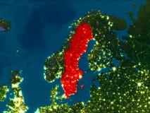 La Suède en rouge la nuit Image libre de droits