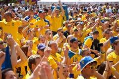 La Suède et les ventilateurs ukrainiens ont obtenu Image libre de droits