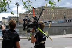 La Suède, hélicoptères sur le festival de musique image libre de droits