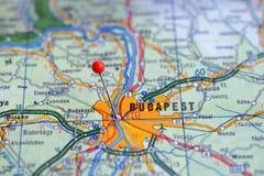 La Suède Stockholm, le 7 avril 2018 : Villes européennes sur des séries de carte Plan rapproché de Budapest Photo stock