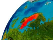 La Suède sur le globe Images stock