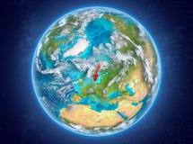 La Suède sur terre de planète dans l'espace Photos libres de droits