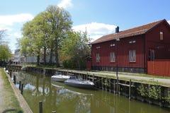 La Suède Trosa Maison rouge traditionnelle Photos libres de droits