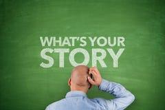 La su historia de Whaten la pizarra foto de archivo