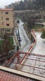 la sua neve nella città Immagine Stock Libera da Diritti