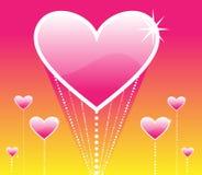 La subida de corazones rosados Imagen de archivo libre de regalías