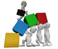 La subida de los caracteres muestra la representación de Team Work And Businessman 3d Imagen de archivo libre de regalías