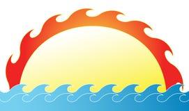 La subida del sol ilustración del vector