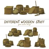 La substance en bois aiment une boîte, baril, sac, le balai, ensemble pour l'élément de jeu d'Ui Photographie stock libre de droits