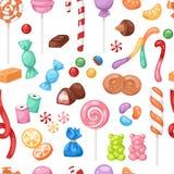 La sucrerie douce de sucreries de bonbon de bande dessinée badine le fond sans couture de modèle de collection méga de bonbons à  illustration stock