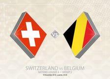 La Suisse contre la Belgique, ligue A, groupe 2 Compe du football de l'Europe illustration libre de droits