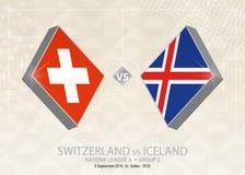 La Suisse contre l'Islande, ligue A, groupe 2 Compe du football de l'Europe illustration stock