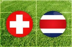 La Suisse contre le match de football de Costa Rica Image libre de droits