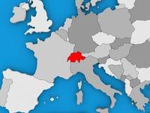 La Suisse en rouge sur le globe Photo libre de droits
