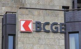 La Suisse ; Genève ; Le 9 mars 2018 ; Panneau de signe de BCGE ; Le Cantona photos libres de droits
