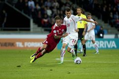 La Suisse - le Danemark (l'UEFA Under21) Images stock