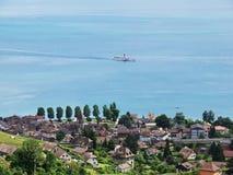 La Suisse van het stoomschip op Meer Genève in Cully Stock Foto