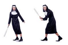 La suora maschio nel concetto religioso divertente Immagine Stock