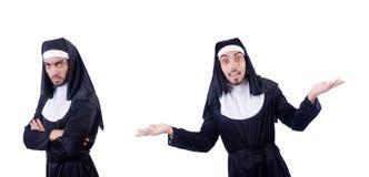La suora maschio nel concetto religioso divertente Fotografia Stock