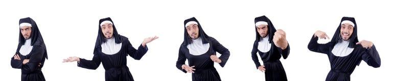 La suora maschio nel concetto religioso divertente Immagine Stock Libera da Diritti