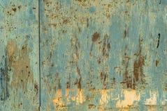 La superficie del ferro è coperta di vecchio fondo di struttura della pittura Fotografie Stock