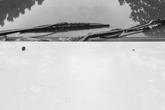 La superficie del primer en el capo del coche blanco viejo texturizó el fondo en tono blanco y negro con el espacio de la copia fotos de archivo
