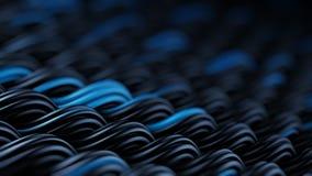 La superficie ondulata dei curles neri e blu orna il rende astratto 3D Fotografie Stock