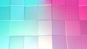 La superficie polivinílica baja rosada azul simple abstracta 3D y los cristales blancos que vuelan como ciencia ficción ajardinan libre illustration