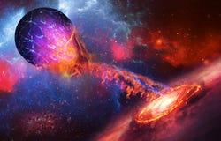 La supernova absorbe el planeta azul en fondo del espacio stock de ilustración