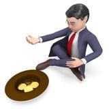 La supplica delle monete indica la rappresentazione di Person And Cash 3d di affari Illustrazione Vettoriale