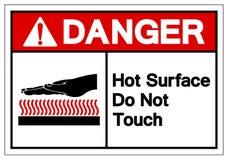 La surface chaude de danger ne touchent pas le signe de symbole, l'illustration de vecteur, isolat sur le label blanc de fond EPS illustration stock