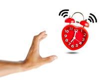 La sveglia rossa della campana sveglia all'orologio del ` di 7 o Immagini Stock Libere da Diritti