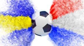 La Svezia contro la Germania Partita di calcio della Croazia Particelle nei colori nazionali della Croazia e della Svezia, colpen Immagine Stock Libera da Diritti