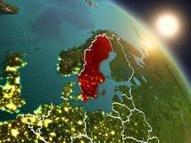 La Svezia da spazio durante l'alba Fotografie Stock
