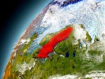 La Svezia dall'orbita di Earth di modello Immagine Stock