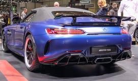 La Svizzera; Ginevra; 11 marzo 2019; Automobile scoperta a due posti di Mercedes-Benz AMG GT-r; L'ottantanovesimo salone dell'aut fotografia stock libera da diritti