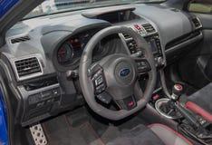 La Svizzera; Ginevra; 8 marzo 2018; L'interno di STI di Subaru WRX; immagine stock